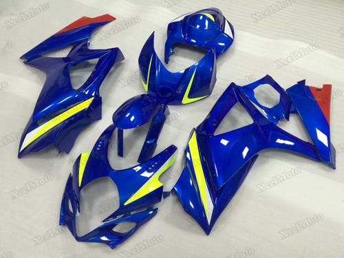 2007 2008 Suzuki GSXR1000 blue fairings and body kits, Suzuki GSXR1000 OEM replacement fairings and bodywork.