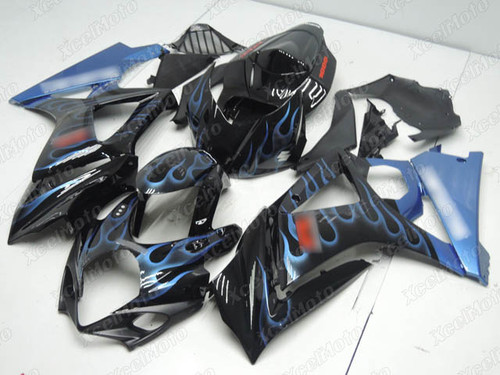2007 2008 Suzuki GSXR1000 Gixxer gloss black fairing with blue ghost flame