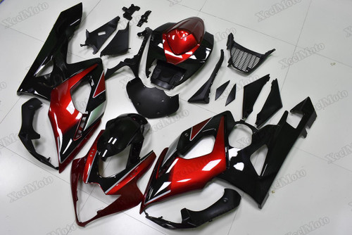 2005 2006 Suzuki GSXR1000 red and black fairings and body kits, Suzuki GSXR1000 OEM replacement fairings and bodywork.