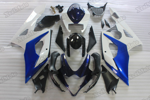 2005 2006 Suzuki GSXR1000 blue and white fairings and body kits, Suzuki GSXR1000 OEM replacement fairings and bodywork.