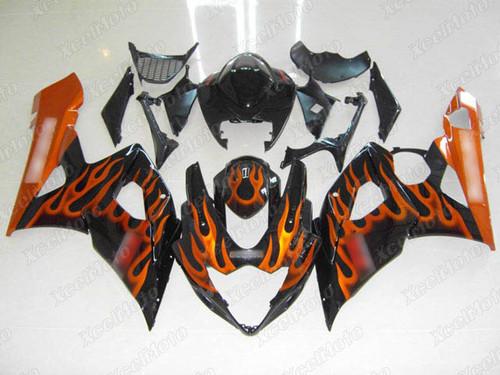 2005 2006 Suzuki GSXR1000 GIXXER K5 K6 orange flame fairing