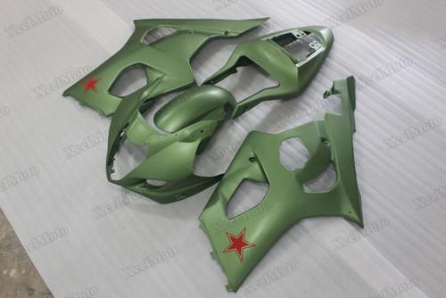 2003 2004 Suzuki GSXR1000 army green fairings and body kits, Suzuki GSXR1000 OEM replacement fairings and bodywork.