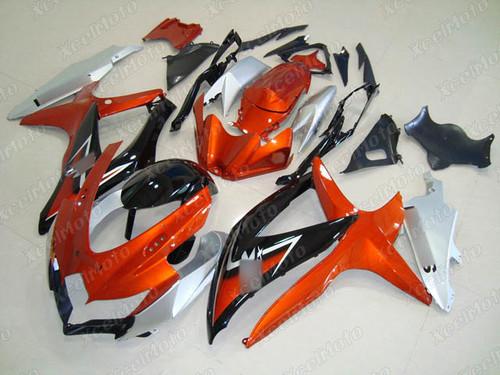 2008 2009 2010 Suzuki GSXR600/750 orange black and silver fairing kit.