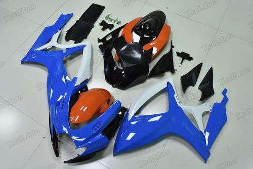 2006 2007 Suzuki GSXR600/750 blue and orange fairings and body kits, Suzuki GSXR600/750 OEM replacement fairings and bodywork.