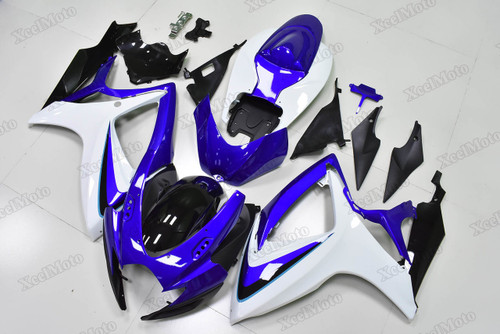 2006 2007 Suzuki GSXR600/750 blue and white fairings and body kits, Suzuki GSXR600/750 OEM replacement fairings and bodywork.