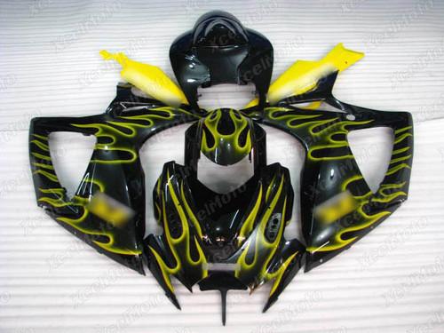 2006 2007 Suzuki GSXR600 GSXR750 yellow flame fairing and bodywork