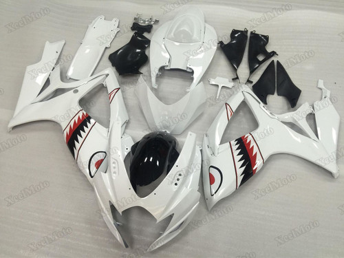 2006 2007 Suzuki GSXR600/750 White Shark fairings and body kits, Suzuki GSXR600/750 OEM replacement fairings and bodywork.
