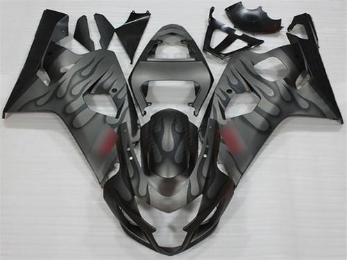 2004 2005 Suzuki GSX-R600 GSX-R750 black flame fairing