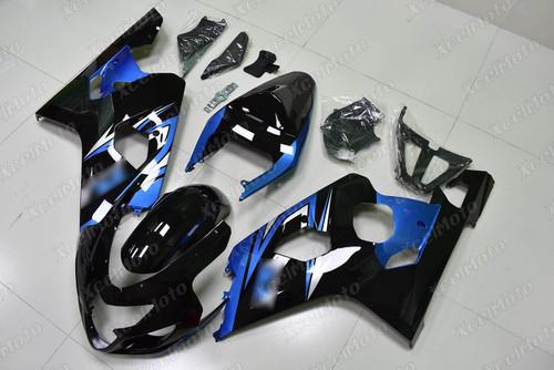 2004 2005 Suzuki GSX-R600 GSX-R750 gloss black fairing with blue graphic