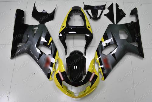 2001 to 2003 Suzuki GSX-R600, 2000 to 2003 Suzuki GSX-R750 black and yellow fairing