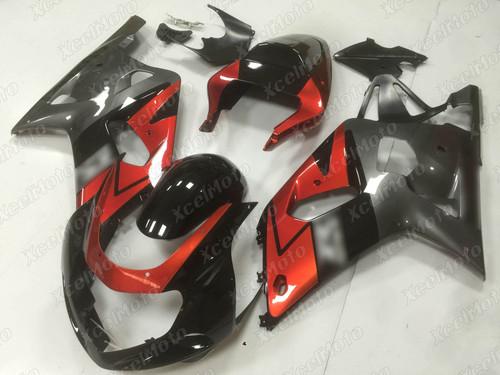 2001 to 2003 Suzuki GSX-R600, 2000 to 2003 Suzuki GSX-R750 red black and grey fairing
