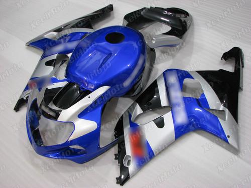 2001 to 2003 Suzuki GSX-R600, 2000 to 2003 Suzuki GSX-R750 blue and silver fairing