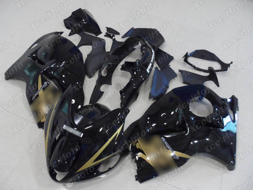 Suzuki Hayabusa GSX1300R gloss black fairing with gold graphic