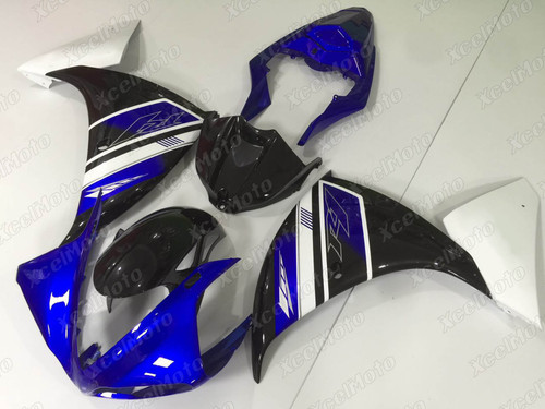 2009 2010 2011 YAMAHA R1 custom fairing blue black and white scheme