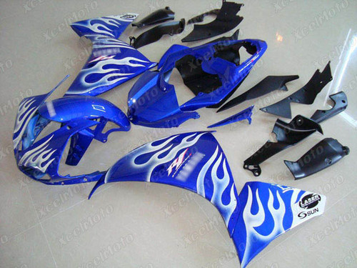 2009 2010 2011 YAMAHA R1 blue and white flame fairing