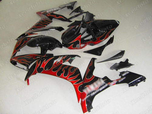 2004 2005 2006 YAMAHA R1 gloss black fairing red flame