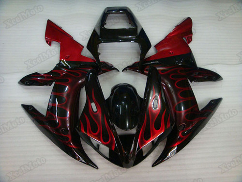 2002 2003 Yamaha R1 red ghost flame fairings and body kits, Suzuki 2002 2003 Yamaha R1 OEM replacement fairings and bodywork.