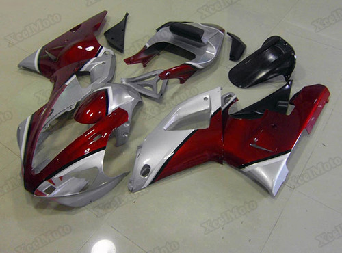 2000 2001 Yamaha R1 red and silver fairings and body kits, Suzuki 2000 2001 Yamaha R1 OEM replacement fairings and bodywork.