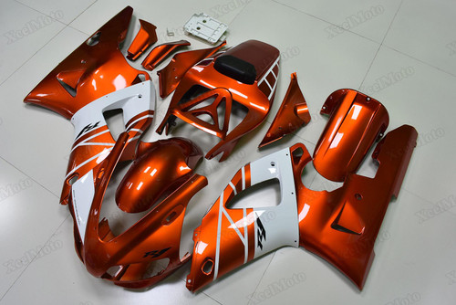 Yamaha R1 2000 2001 orange and white fairings and bodywork