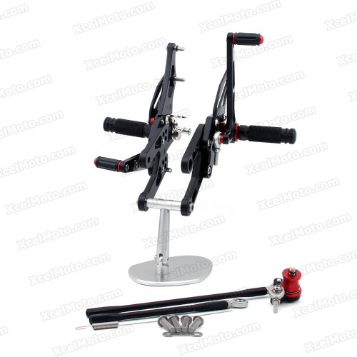 Motorcycle rear sets assembly for Honda CBR1000RR 2004 2005 2006 2007 are design to improve the ground clearance, crash worthiness and overall good looks of your bike