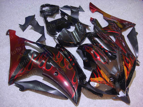 2008 2009 2010 to 2015 2016 Yamaha R6 red ghost flame fairings