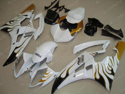 2006 2007 YAMAHA R6 white fairing with gold flame