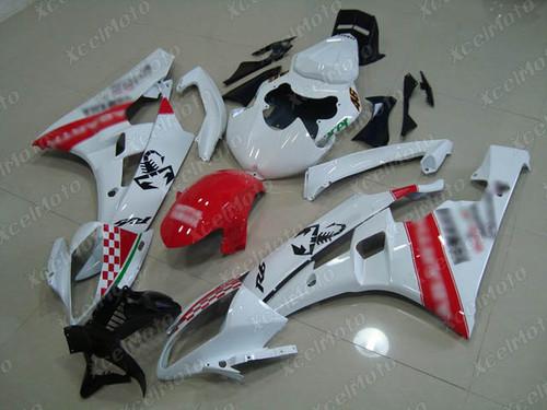 2006 2007 YAMAHA R6 custom fairing white and red scheme