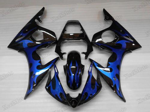 Yamaha R6 2003 2004 2005 black and blue fairings