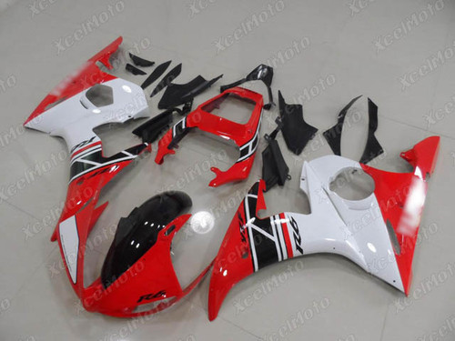 2003 2004 2005 Yamaha YZF R6 red white and black fairing