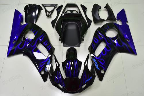 Yamaha R6 1999 2000 2001 2002 blue ghost flame fairings