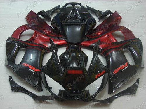 1999 2000 2001 2002 YAMAHA R6 black and red fairing kit