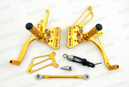 Motorcycle rear sets assembly for 2005 2006 Suzuki GSXR1000 are design to improve the ground clearance, crash worthiness and overall good looks of your bike