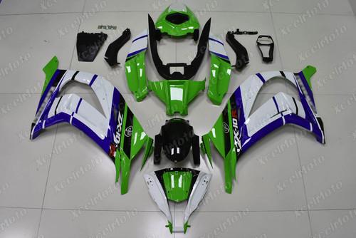 2011 2012 2013 2014 2015 Kawasaki Ninja ZX10R green white and blue fairing kit.