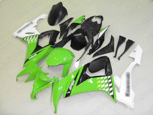 2008 2009 2010 Kawasaki Ninja ZX10R green and white bodywork