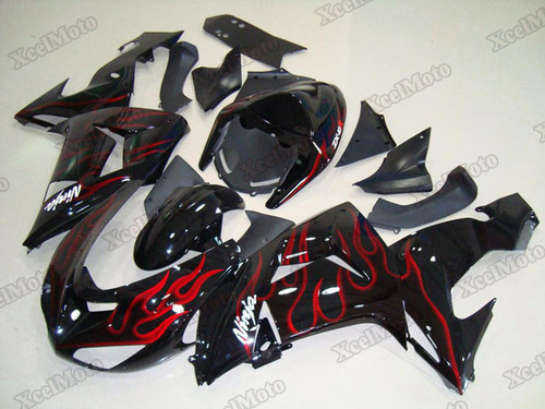 2006 2007 Kawasaki Ninja ZX-10R red flame fairings