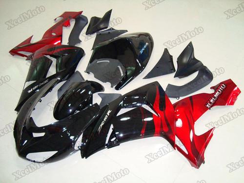 Kawasaki Ninja ZX10R black and red fairings and body kits, 2006 2007 Kawasaki Ninja ZX10R OEM replacement fairings and bodywork.