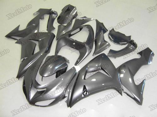 Kawasaki Ninja ZX10R metallic grey fairings and body kits, 2006 2007 Kawasaki Ninja ZX10R OEM replacement fairings and bodywork.
