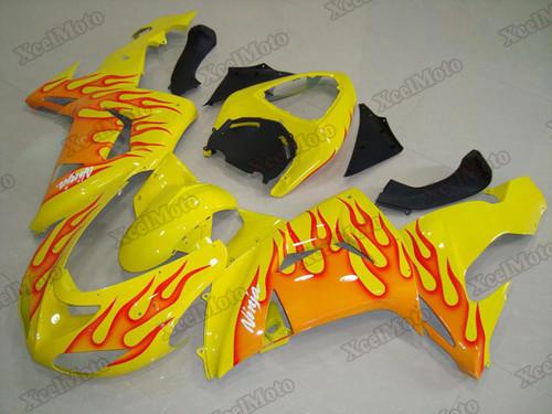 2006 2007 Kawasaki Ninja ZX-10R yellow flame fairings