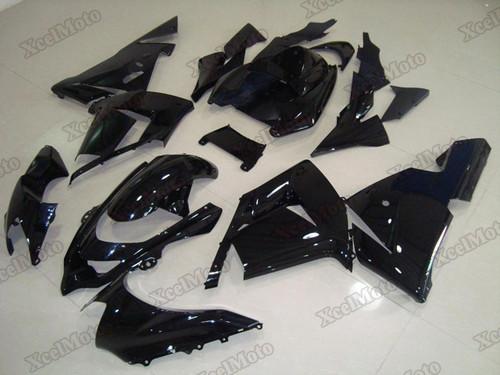 Kawasaki Ninja ZX10R gloss black fairings and body kits, 2004 2005 Kawasaki Ninja ZX10R OEM replacement fairings and bodywork.