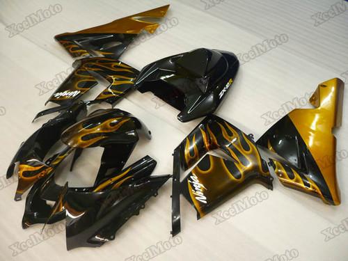 2004 2005 Kawasaki Ninja ZX10R gold flame fairings
