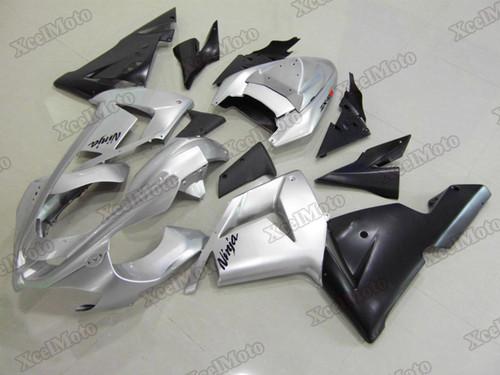Kawasaki Ninja ZX10R silver and black fairings and body kits, 2004 2005 Kawasaki Ninja ZX10R OEM replacement fairings and bodywork.