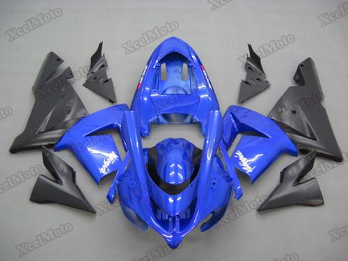 Kawasaki Ninja ZX10R blue and black fairings and body kits, 2004 2005 Kawasaki Ninja ZX10R OEM replacement fairings and bodywork.