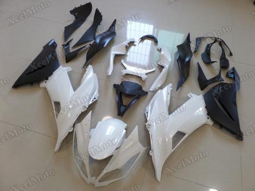Kawasaki Ninja ZX6R white and black fairings and body kits, 2013 to 2018 Kawasaki Ninja ZX6R OEM replacement fairings and bodywork.