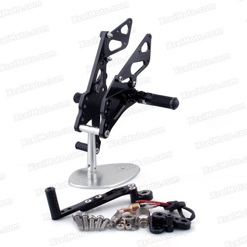 Motorcycle rear sets assembly for 2009 2010 2011 2012 Suzuki GSXR1000 are design to improve the ground clearance, crash worthiness and overall good looks of your bike.