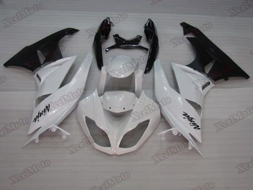 Kawasaki Ninja ZX6R white and black fairings and body kits, 2009 2010 2011 2012 Kawasaki Ninja ZX6R OEM replacement fairings and bodywork.