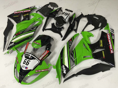 2009 2010 2011 2012 Kawasaki Ninja ZX6R custom fairings green and black