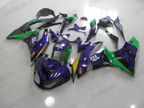 Kawasaki Ninja ZX6R EVA Racing purple fairings and body kits, 2009 2010 2011 2012 Kawasaki Ninja ZX6R OEM replacement fairings and bodywork.