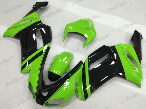 2007 2008 Kawasaki Ninja ZX6R OEM replacement fairings green and black