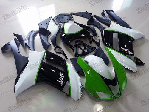 Kawasaki Ninja ZX6R green and white fairings and body kits, 2007 2008 Kawasaki Ninja ZX6R OEM replacement fairings and bodywork.
