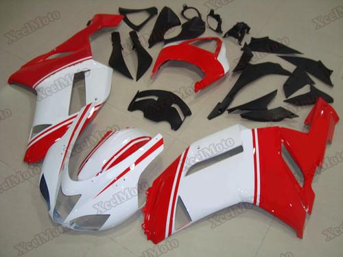 Kawasaki Ninja ZX6R white and red fairings and body kits, 2007 2008 Kawasaki Ninja ZX6R OEM replacement fairings and bodywork.
